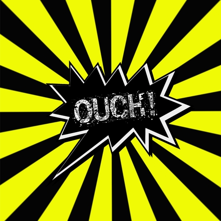 ouch: Ouch black Speech bubbles white wording on Striped sun yellow-Black background