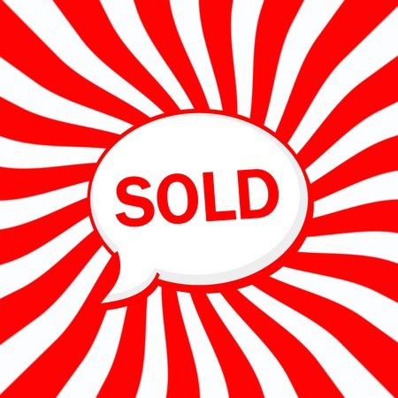Sold Speech bubbles wording on Striped sun red-white background