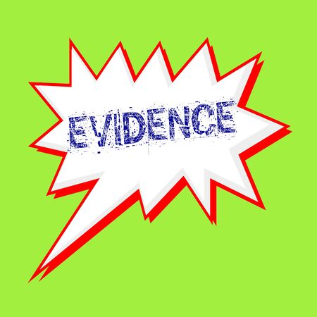 evidence: evidence blue wording on Speech bubbles Background Green-yellow