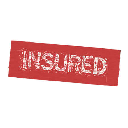 insured: Insured white wording on Background  red wood Board old Stock Photo