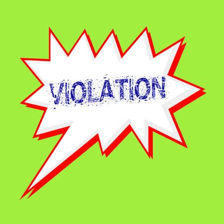 violation: VIOLACIÓn redacción azul en las burbujas del discurso de fondo verde-amarillo