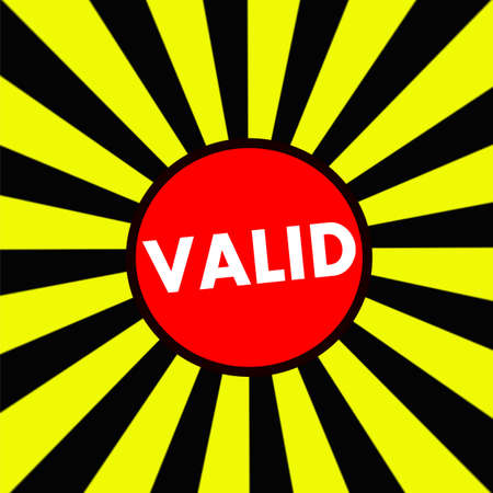 valid: VALID white wording on Striped sun yellow-Black background