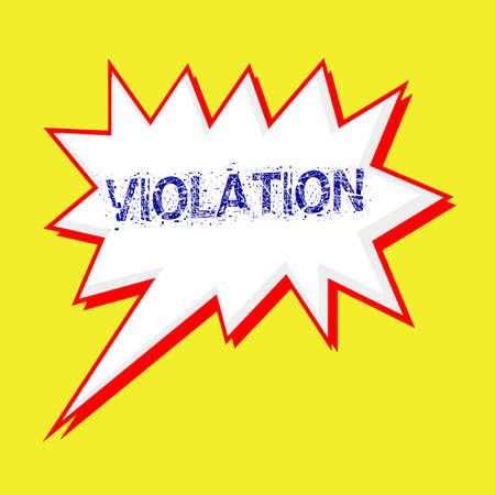 violation: VIOLACIÓn redacción azul en las burbujas del discurso de fondo blanco amarillo Foto de archivo