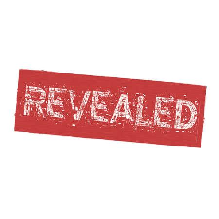 revealed: REVEALED white wording on Background  red wood Board old Stock Photo