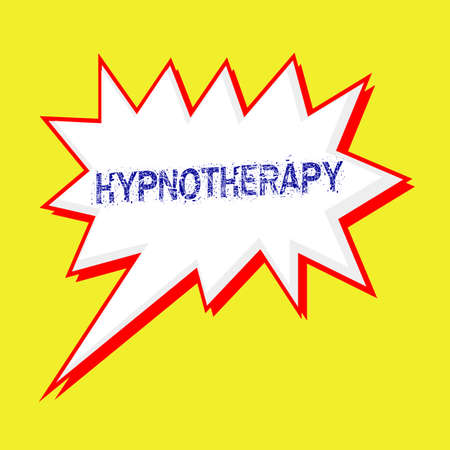 hypnotherapy: HYPNOTHERAPY blue wording on Speech bubbles Background yellow white