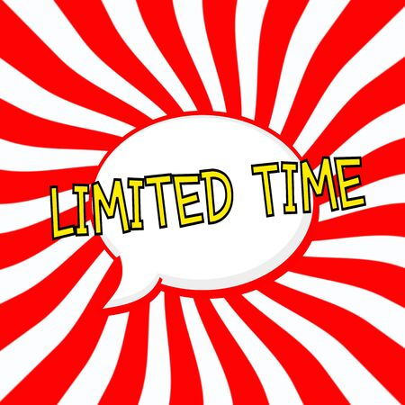 limited time: Limited time Speech bubbles yellow wording on Striped sun red-white background Stock Photo