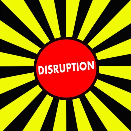 DISRUPTION white wording on Striped sun yellow-Black background
