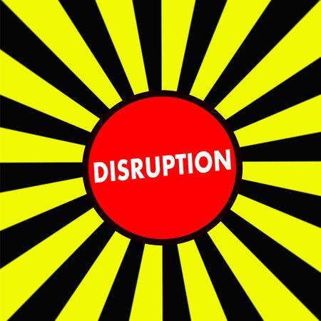 disruption: DISRUPTION white wording on Striped sun yellow-Black background