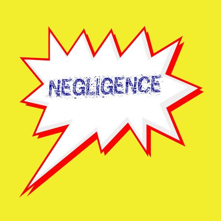 negligence: NEGLIGENCE blue wording on Speech bubbles Background yellow white