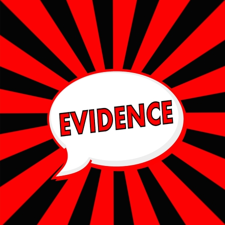 evidence Red wording Speech bubbles on Striped sun Red-Black background