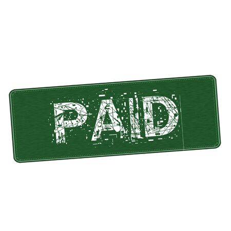 paid: Paid white wording on Background  green wood Board Stock Photo