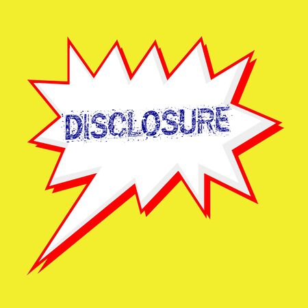 disclosure: disclosure blue wording on Speech bubbles Background yellow white Stock Photo