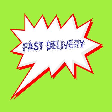fast delivery blue wording on Speech bubbles Background Green-yellow