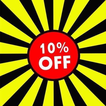 off white: 10% OFF white wording on Striped sun yellow-Black background