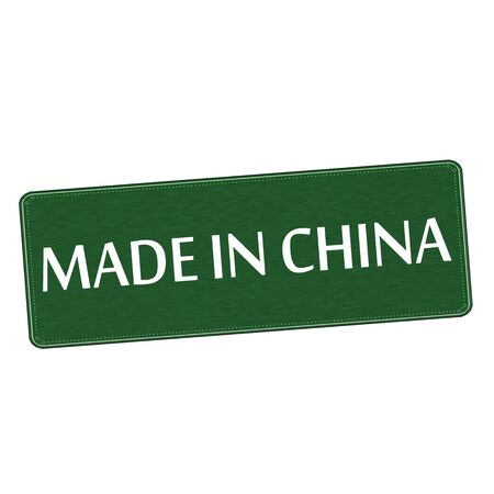 made in china white wording on Background  green wood Board