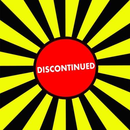 discontinued: Discontinued white wording on Striped sun yellow-Black background Stock Photo