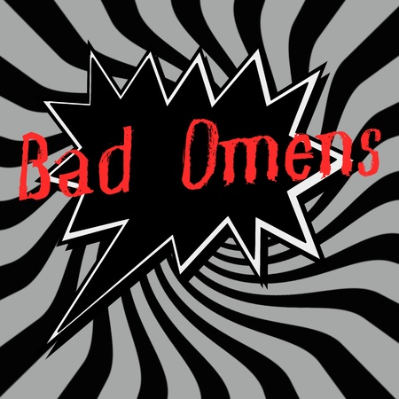 omens: Bad Omens Speech bubbles wording on Striped sun black-gray background