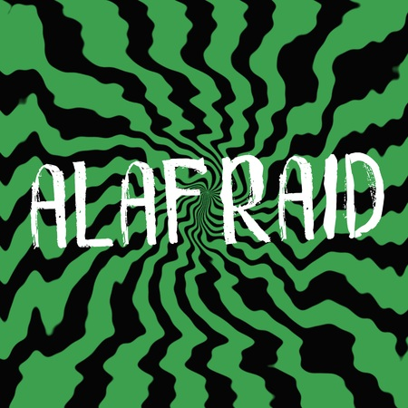 wording: afraid wording on Striped sun black-green background Stock Photo