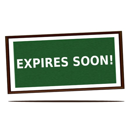 expires: expires soon white wording on Green wood background Stock Photo