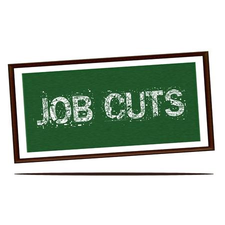 wood cuts: job cuts white wording on Green wood background