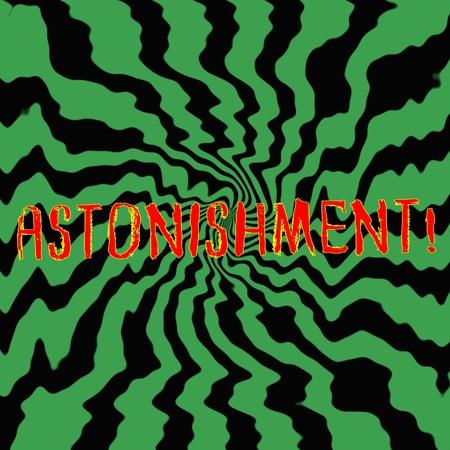 astonishment: astonishment red wording on Striped sun black-green background