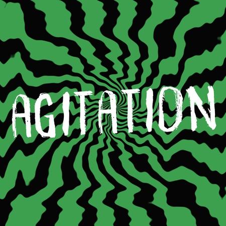 agitation: agitation wording on Striped sun black-green background