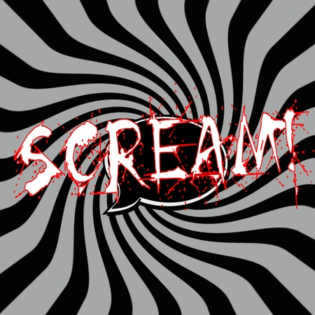 Scream Speech bubbles wording on Striped sun black-gray background