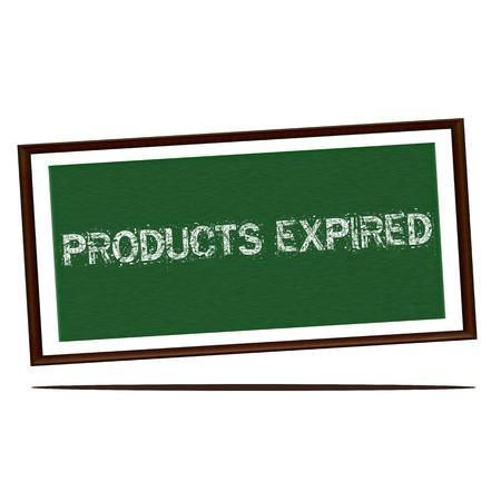 expired: products expired white wording on Green wood background