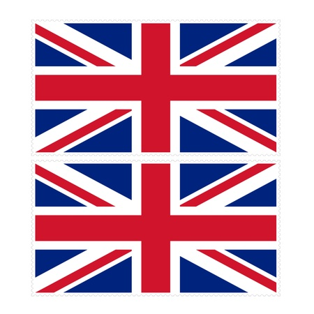 u  k: Stamp image of british flag two piece Stock Photo