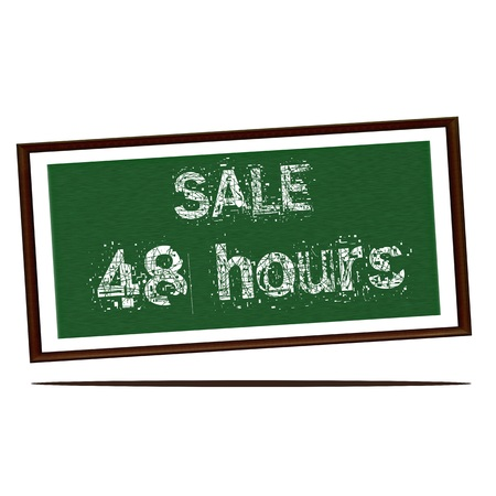 forty: sale forty eight hours white wording on Green wood background