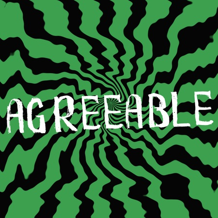 agreeable: agreeable wording on Striped sun black-green background