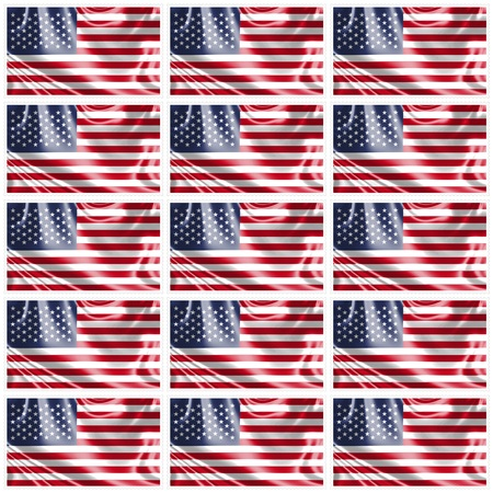 fifteen: Stamp image of american flag fifteen piece Stock Photo