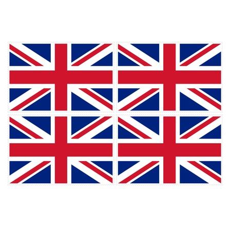 u k: Stamp image of british flag four piece