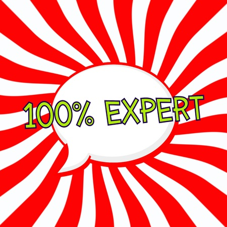 one hundred percent expert Speech bubbles Green wording on Striped sun red-white background