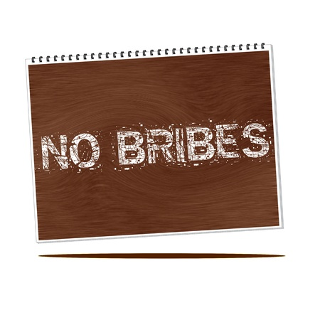 bribes: no bribes white wording on Notebook wood background Stock Photo