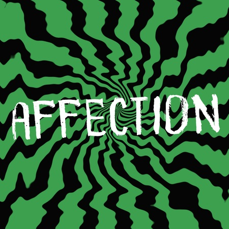 affection: affection wording on Striped sun black-green background Stock Photo