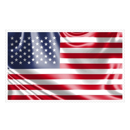 one piece: Stamp image of american flag one piece