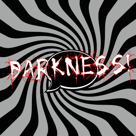 darkness: Darkness Speech bubbles wording on Striped sun black-gray background Stock Photo