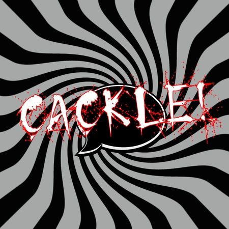 cackle: Cackle Speech bubbles wording on Striped sun black-gray background