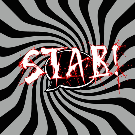 stab: Stab Speech bubbles wording on Striped sun black-gray background