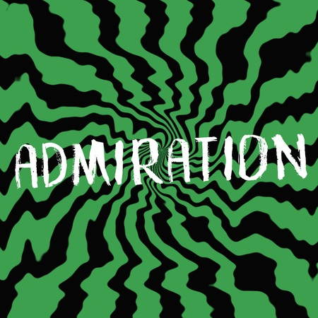 admiration: admiration wording on Striped sun black-green background Stock Photo