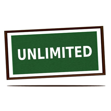 unlimited: unlimited white wording on Green wood background Stock Photo