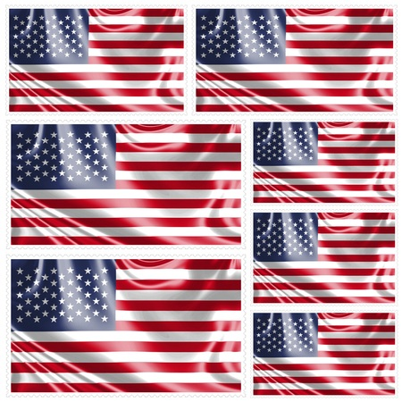 seven: Stamp image of american flag seven piece Stock Photo