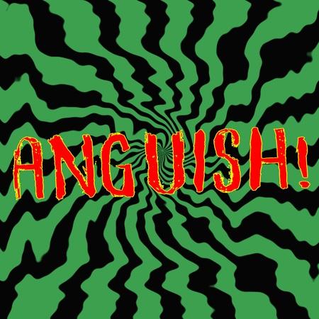 anguish: anguish red wording on Striped sun black-green background