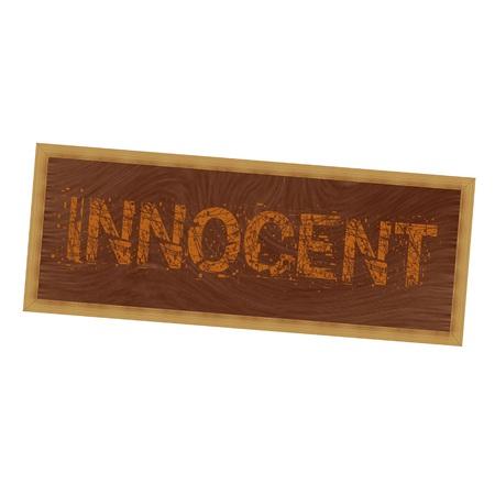 innocent: INNOCENT orange wording on picture frame wood brown background
