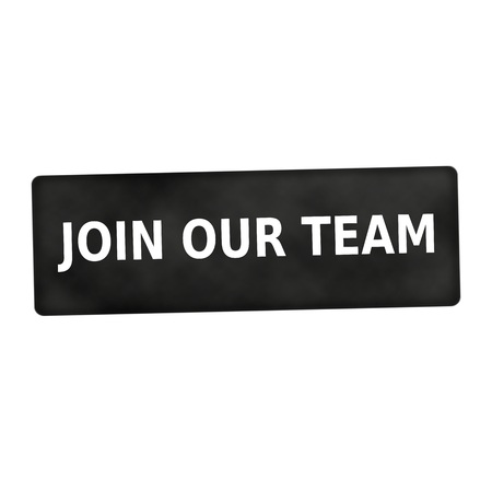 our: Join our team white wording on black background Stock Photo