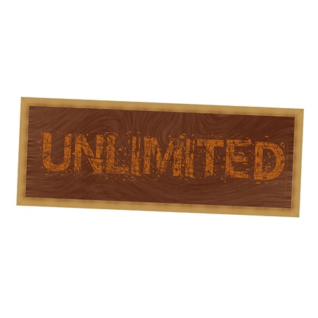 unlimited: unlimited orange wording on picture frame wood brown background Stock Photo