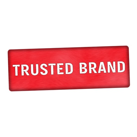trusted: trusted brand white wording on wood red background