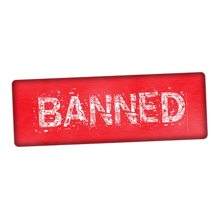 banned: banned white wording on wood red background