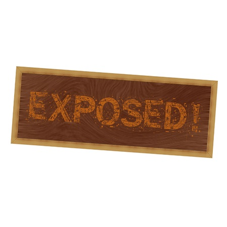 exposed: exposed orange wording on picture frame wood brown background